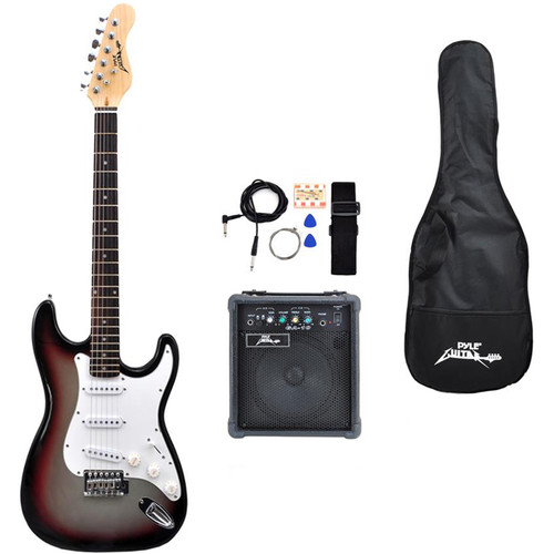 Pyle Pro Beginners Electric Guitar Kit with Amplifier & Accessories (Grey)
