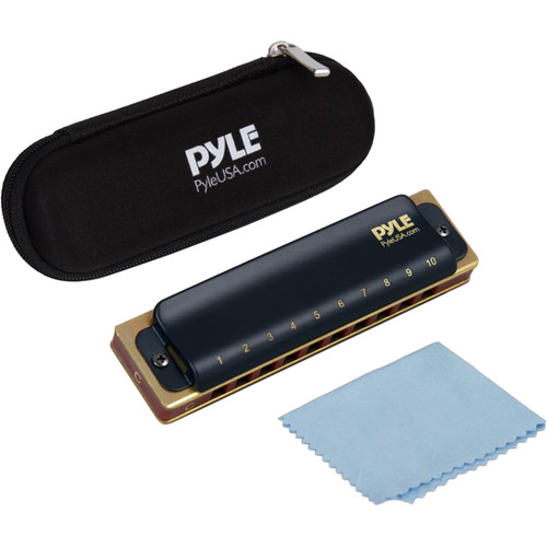 Pyle Pro Classic-Style Diatonic Harmonica with Brass Cover Plate