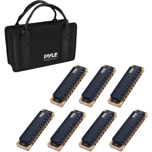 Pyle Pro Kit of Classic Style Diatonic Harmonicas with Brass Cover Plates (7-Pack in Travel Case)