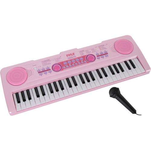 Pyle Pro Portable 49-Key Electronic Keyboard (Rechargeable, Pink)