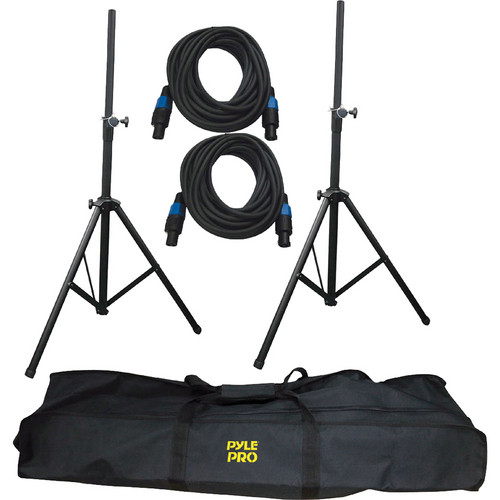 Pyle Pro Heavy-Duty Aluminum Anodizing Dual Speaker Stand & Speakon Cable Kit