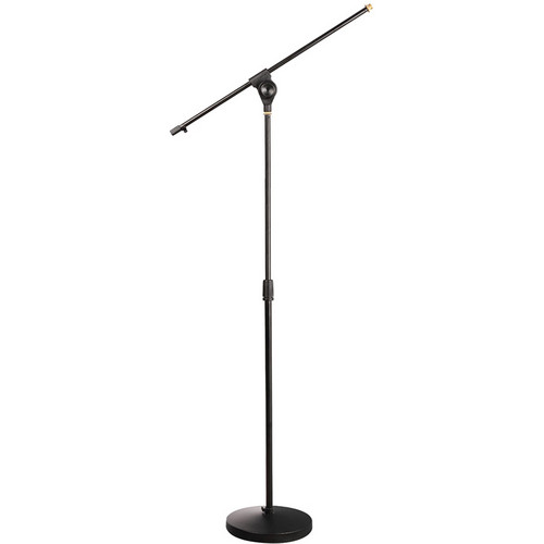 Pyle Pro Universal Compact Base Microphone Stand with Adjustable & Extendable Boom (Black)