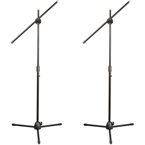 Pyle Pro Universal Adjustable & Extendable Tripod Microphone Stands (Pair, Black)