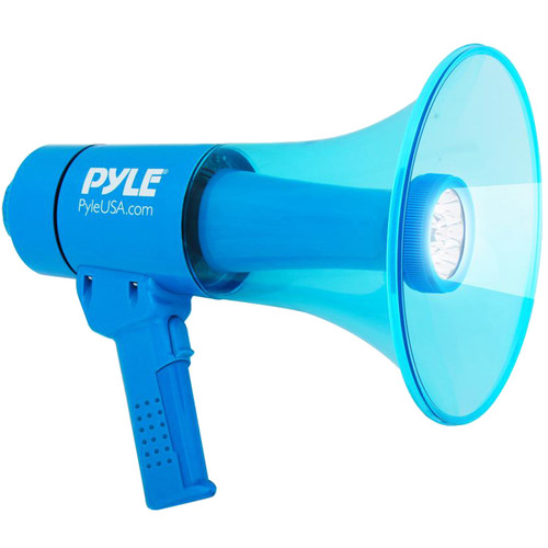 Pyle Pro PMP67WLTB 40W Waterproof Megaphone with Siren, LED Lights, and Rechargeable Battery (Blue)