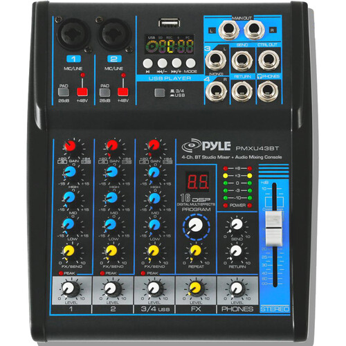 Pyle Pro PMXU43BT Compact 4-Channel, Bluetooth-Enabled Audio Mixer