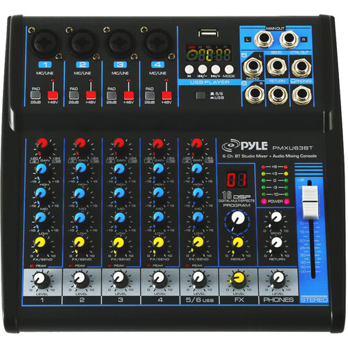 Pyle Pro PMXU63BT Compact 6-Channel, Bluetooth-Enabled Audio Mixer