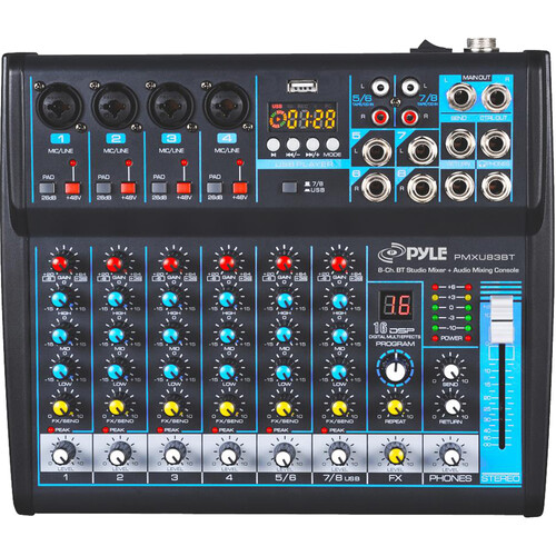 Pyle Pro PMXU83BT Compact 8-Channel, Bluetooth-Enabled Audio Mixer