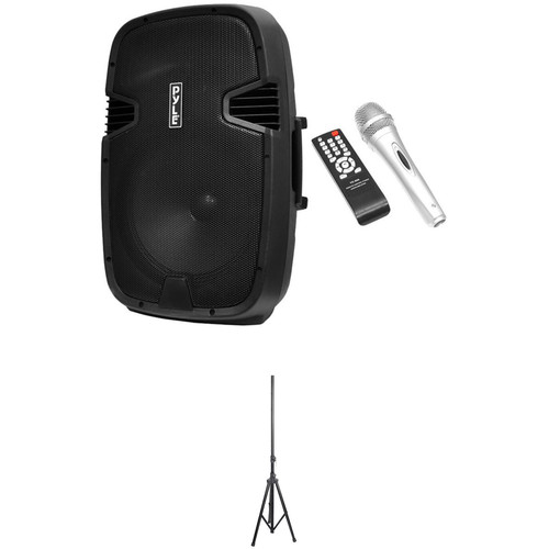 Pyle Pro Powered Bluetooth Speaker System with Stand and Microphone Kit