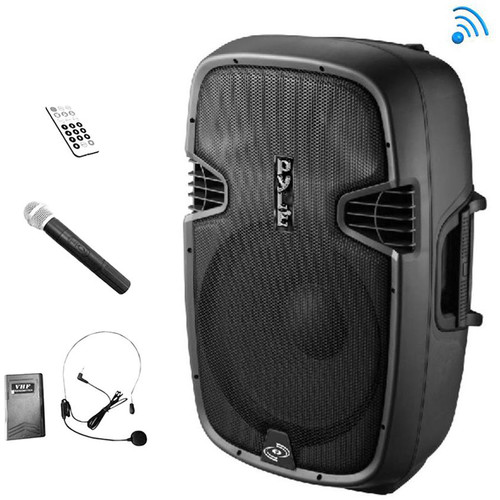 """Pyle Pro PPHP109WMU 10"""" 2-Way 1000W Bluetooth-Enabled PA Loudspeaker System with Wireless Handheld & Headset Microphones"""
