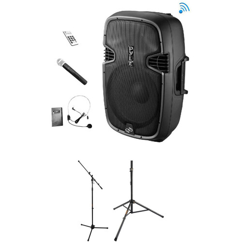 """Pyle Pro PPHP109WMU 10"""" 2-Way Bluetooth PA Loudspeaker Kit with Wireless Mics and Stands"""