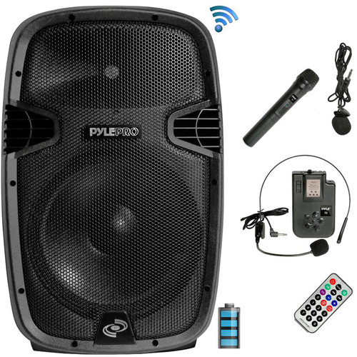 """Pyle Pro PPHP1541WMU Portable 15"""" 2-Way 1200W Wireless and Bluetooth-Enabled PA System"""