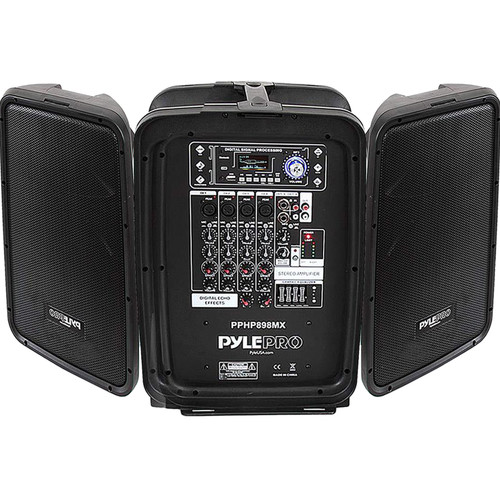 Pyle Pro PPHP898MX Portable Bluetooth Stereo PA System with 8-Channel 600W Mixer