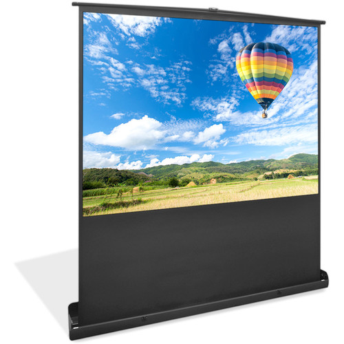 """Pyle Pro 100"""" Floor Standing Portable Manual Projection Screen Easy Roll-Up Pull-Out Matte White"""