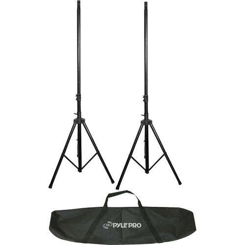 Pyle Pro PSTK106 Two Heavy-Duty 6.6' Dual Speaker Stands with Traveling Bag Kit