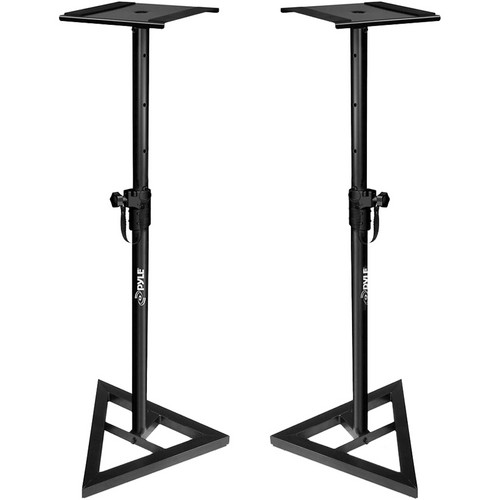 Pyle Pro PSTND35 Heavy Duty Telescoping Monitor Speaker Stands (Pair, Black)