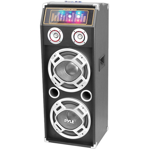 Pyle Pro PSUFM1035A Disco Jam 1000W 2-Way Bluetooth Speaker System with Flashing DJ Lights