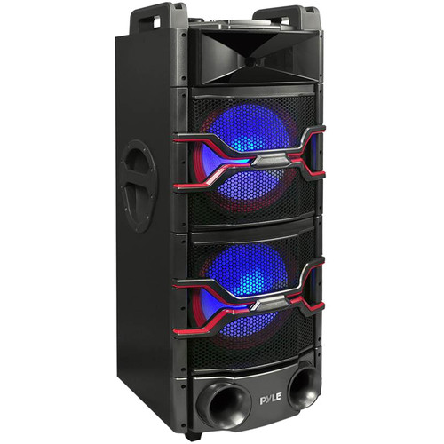 Pyle Pro PSUFM1235BT - 2400W Bluetooth Portable DJ Karaoke System with Party Lights and Mic Recorder