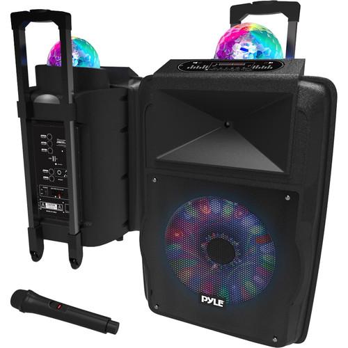 "Pyle Pro PSUFM1280B 12"" 700W Portable PA System Bundle with Built-In Light Show"