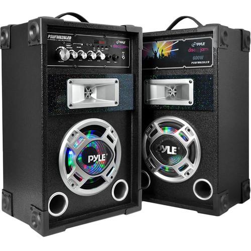"Pyle Pro Disco Jam Dual 6.5"" Bookshelf Tower Stereo Speaker System"