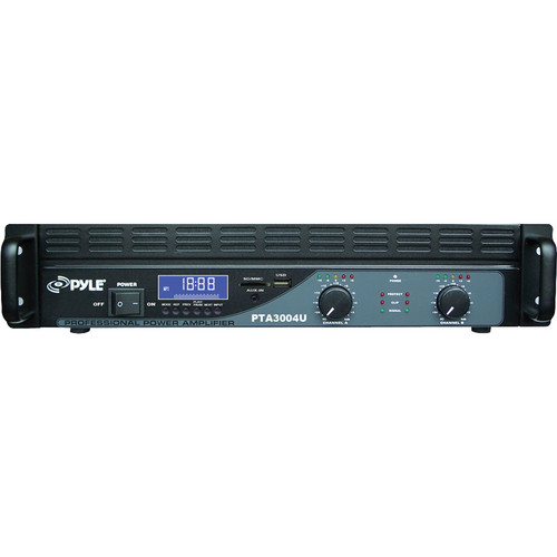 Pyle Pro 2-Channel Power Amplifier with USB/SD Readers, LCD Digital Display, & Built-In Crossover (3,000W)