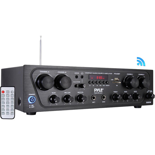 Pyle Pro 4-Channel Compact Stereo Amplifier System with Bluetooth