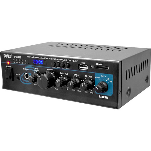Pyle Pro 2-Channel 120W Stereo Power Amplifier with USB Port & LED Display