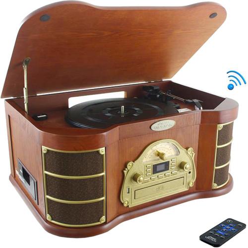 Pyle Pro PTCD54UB Vintage Belt-Drive Automatic Turntable with Bluetooth and USB