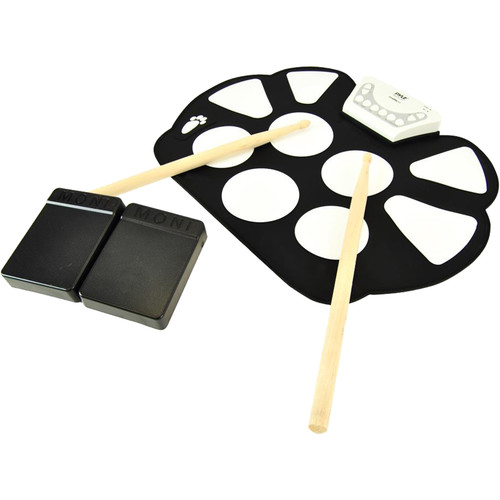 Pyle Pro PTEDRL11 Electronic Drum Kit - Portable Drumming Machine Roll-Up Design