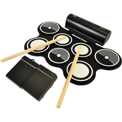 Pyle Pro PYPTEDRL14 Roll-Up Electronic Drum Kit with MIDI Capability