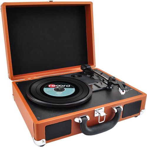 Pyle Pro PVTTBT6BR Portable Turntable with Bluetooth and USB (Brown)
