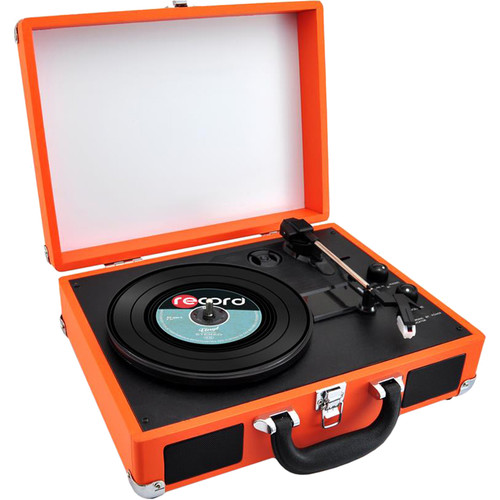 Pyle Pro PVTTBT6OR Portable Turntable with Bluetooth and USB (Orange)