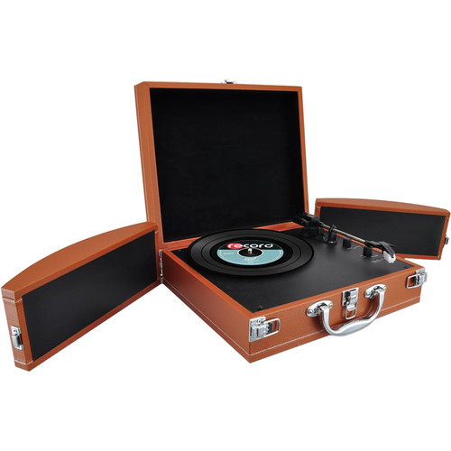 Pyle Pro PVTTBT8BR Portable Suitcase Turntable with Bluetooth and USB (Brown)