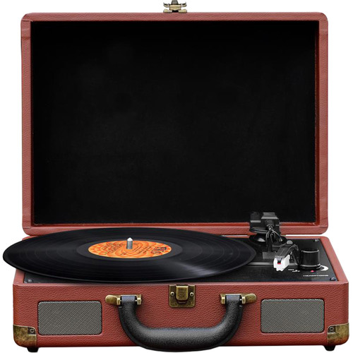 Pyle Pro PVTTBT9BR Suitcase Turntable with Bluetooth and USB (Brown)