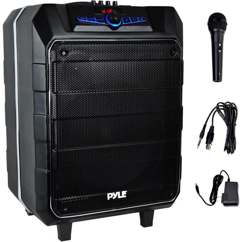 "Pyle Pro 12"" Active Portable Bluetooth Stereo Loudspeaker with Karaoke Microphone"