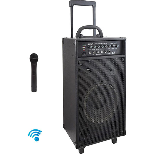 Pyle Pro 800W Wireless Rechargeable Portable Bluetooth PA System with Wireless Mic