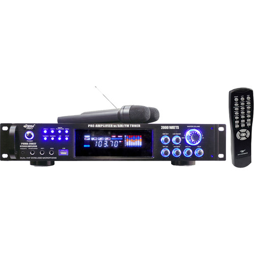 Pyle Pro PWMA2003T Hybrid Stereo Receiver Amplifier with AM/FM Tuner & 2 Wireless Microphones (2000 W, 2 RU)