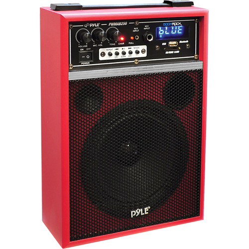 "Pyle Pro PWMAB250RD 6.5"" 300 Watt Powered Portable PA Speaker (Red)"