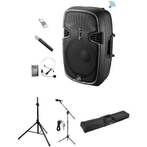 Pyle Pro PPHP109WMU Bluetooth PA System Kit with Three Microphones, Stands, and Bag
