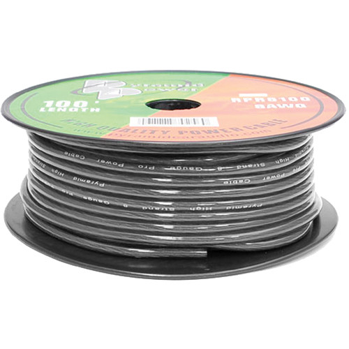Pyramid 8 Gauge Black Power Wire (100')