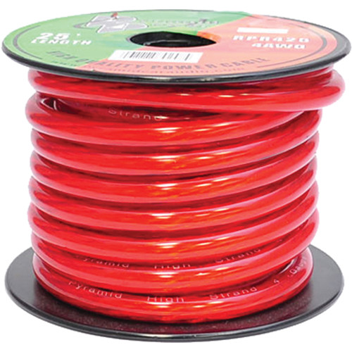 Pyramid 4 Gauge Red Power Wire (25')