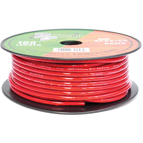 Pyramid 8 Gauge Red Power Wire (100')