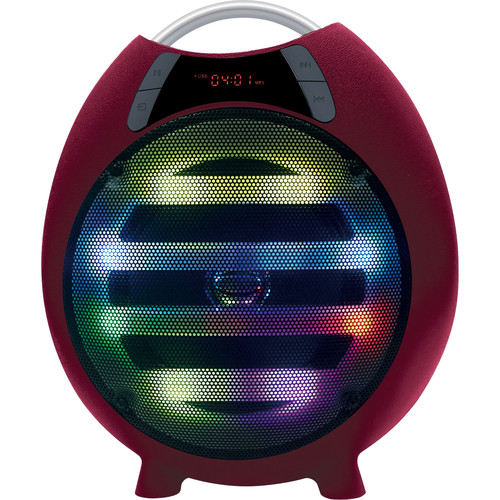 "QFX PBX-2100 6.5"" Rechargeable Battery-Powered Portable Party Speaker with Bluetooth/USB/SD/FM (Red)"