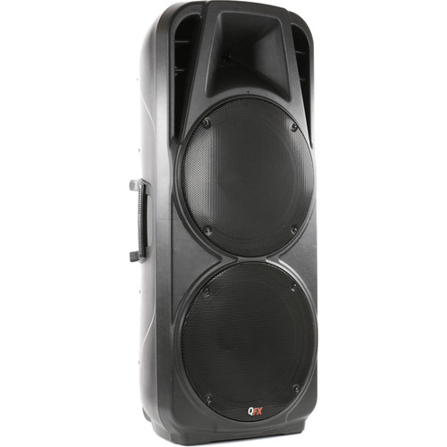 """QFX Rechargeable Battery Powered Bluetooth PA Speaker with Two 15"""" Woofers"""