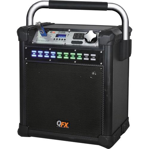 """QFX 8"""" Weather-Resistant Portable Party AM/FM Speaker (Black)"""