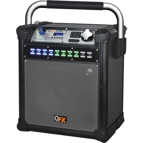 """QFX 8"""" Weather-Resistant Portable Party AM/FM Speaker (Grey)"""