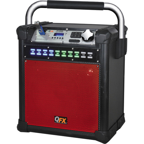"QFX 8"" Weather-Resistant Portable Party AM/FM Speaker (Red)"