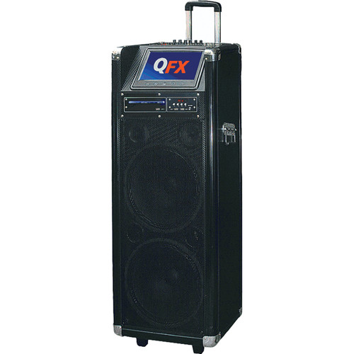 "QFX PBX-512200BTD 2 x 12"" Battery Powered Karaoke PA Speaker USB/SD/FM/Disco-Light/Bluetooth"