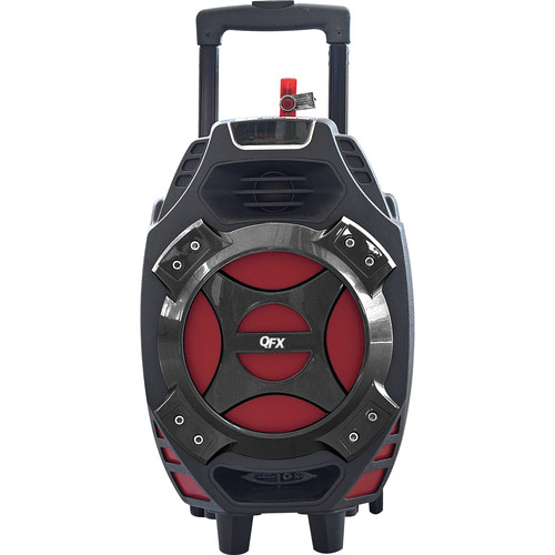 "QFX PBX-61081BT 8"" Portable Tailgate Battery-Powered Party Speaker with USB/SD/FM/Bluetooth (Red)"