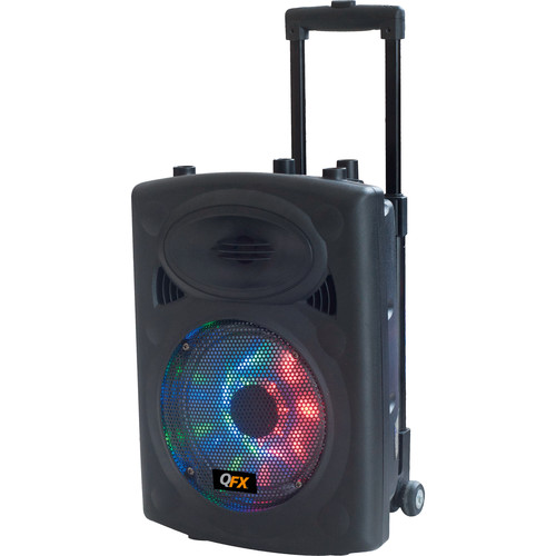 """QFX 8"""" Battery-Powered Bluetooth Party Speaker with Stand (Black)"""