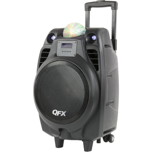 "QFX 10"" Battery-Powered Bluetooth Portable Party Speaker with USB Recording (Black)"